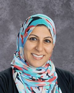 Woman wearing multicolored headscarf
