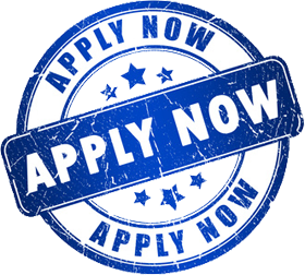 White button with blue stars and lettering that says Apply now Apply now Apply now