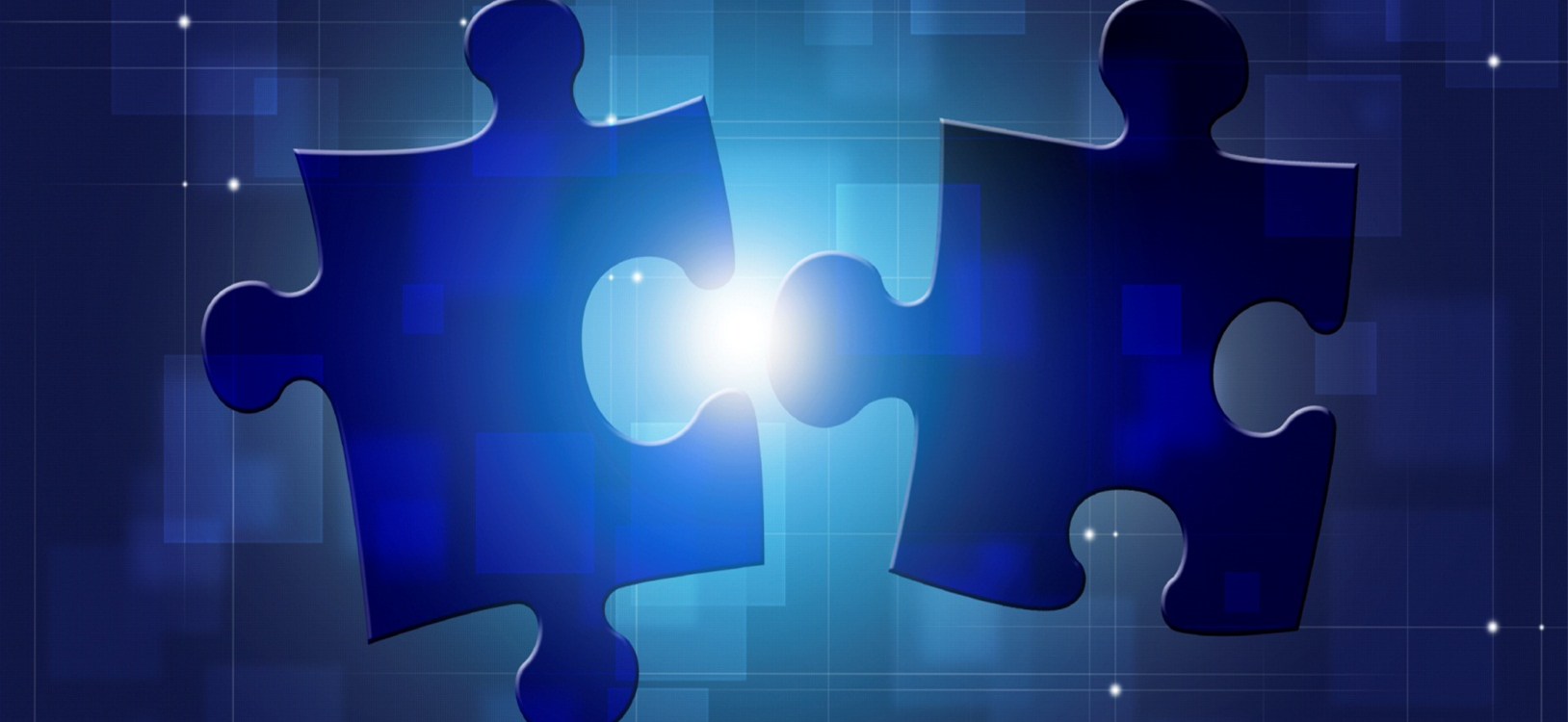 two blue puzzle pieces net to each other with a bright light shining in between them.