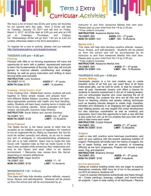 ECAs Term 2 16-17 – Tarbiyah Academy