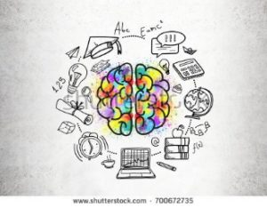 image of multicolored brain split in half with computer, clock globe, science formulas encircling the brain.
