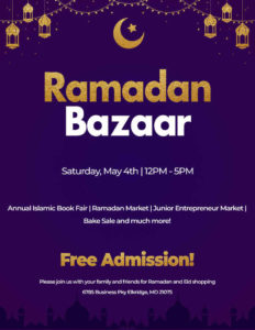 Purple flier with gold and white lettering with crescent moon - Ramadan Bazaar