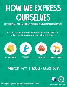 IB Primary Yrs Program Exhibition - Corruption, Poverty, Pollution, Animal Rights