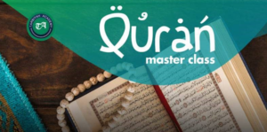 Image of open Qur'an with prayer beads - heading Qur'an Master Class